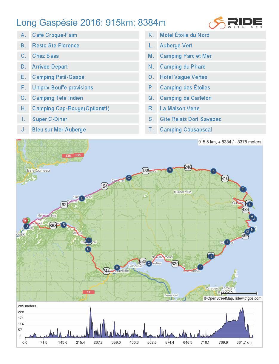 Gaspésie 2016; 14 Jours; 915km; 8,384 mètres d'ascension